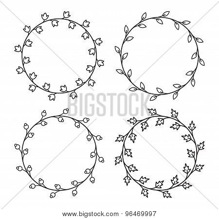 Set of 4 decorative round floral frames with leaves in mono line style