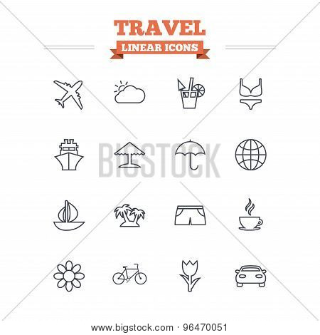 Travel linear icons set. Thin outline signs. Vector