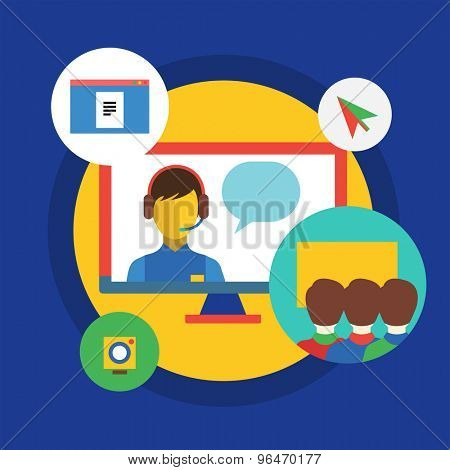 Webinar vector illustration. Online School, Courses and Communication Teamwork symbols. Stock design elements