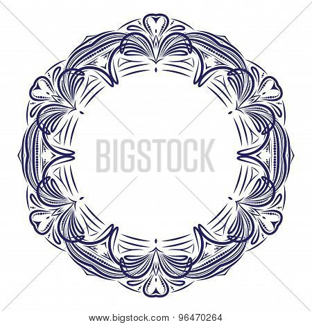 Circle Lace Ornament With Hearts, Round Ornamental Geometric Doily Pattern With Empty Space For Text