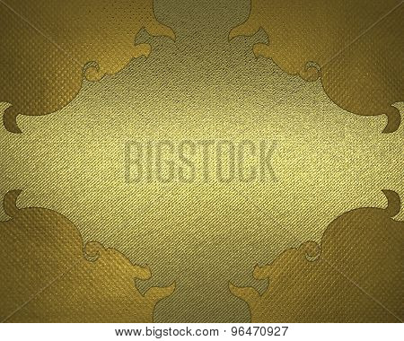 Yellow Background With Gold Pattern. Element For Design. Template For Design.