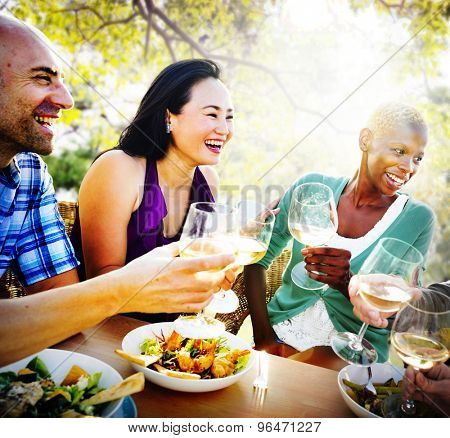 Diversity Friendship Dining Hanging out Luncheon Concept