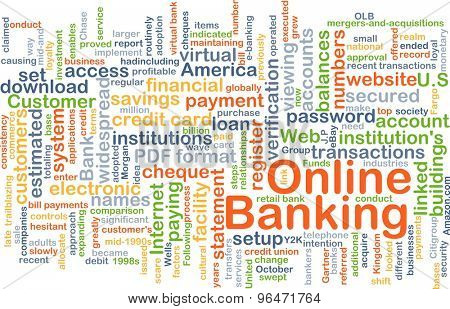 Background concept word cloud illustration of online banking