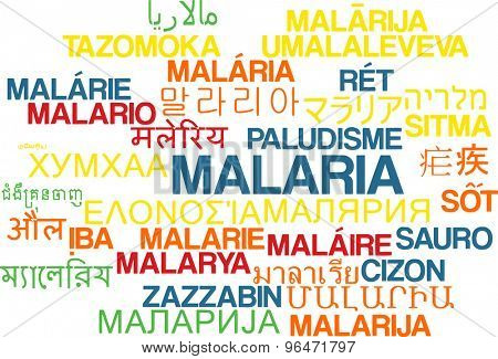 Background concept word cloud multi language international many language illustration of malaria