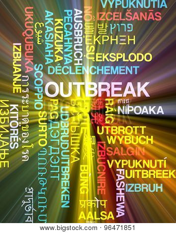 Background concept word cloud multi language international many language illustration of outbreak glowing light