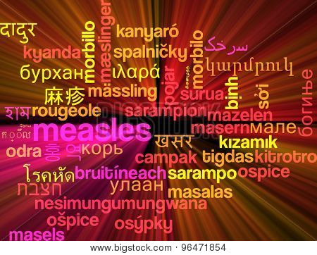 Background concept word cloud multi language international many language illustration of measles glowing light