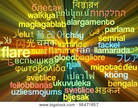Background concept wordcloud multilanguage international many language illustration of flare glowing light