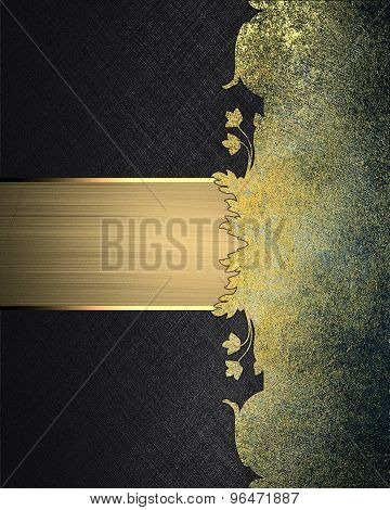 Grunge Black Background With Metal Pattern And Nameplate. Element For Design. Template For Design.