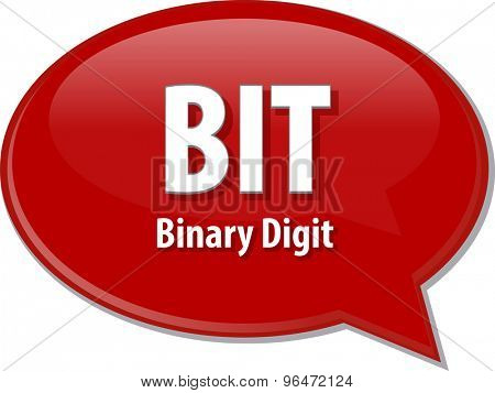 Speech bubble illustration of information technology acronym abbreviation term definition BIT Binary Digit