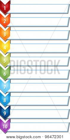 blank business strategy concept infographic chevron list diagram illustration ten 10 steps