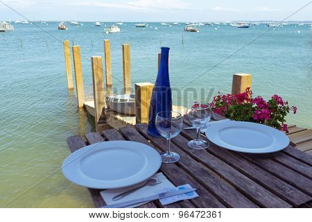 beach restaurant table and dishware