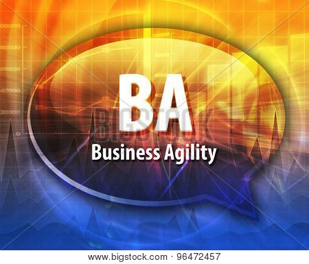word speech bubble illustration of business acronym term BA Business Agility