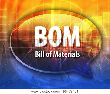 word speech bubble illustration of business acronym term BOM Bill of Materials