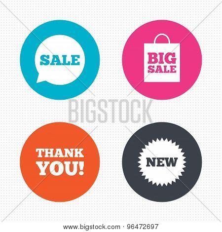 Sale speech bubble icon. Thank you symbol