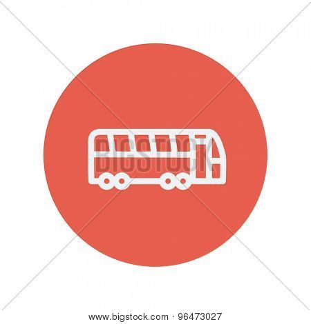 Tourist bus thin line icon for web and mobile minimalistic flat design. Vector white icon inside the red circle.