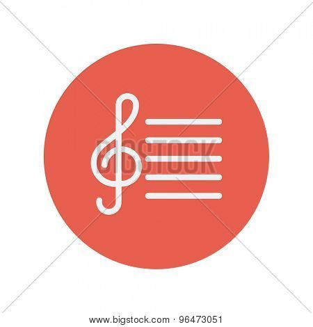 G-clef with bar line thin line icon for web and mobile minimalistic flat design. Vector white icon inside the red circle.