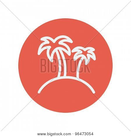 Two palm trees thin line icon for web and mobile minimalistic flat design. Vector white icon inside the red circle