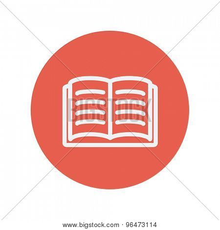 Open book thin line icon for web and mobile minimalistic flat design. Vector white icon inside the red circle.