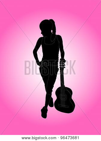 woman playing guitar on pink background
