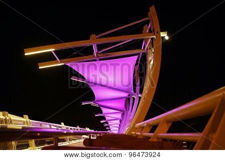 Modern Pedestrian Bridge With Illumination