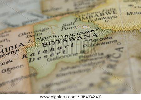 Macro of Botswana on a globe, narrow depth of field