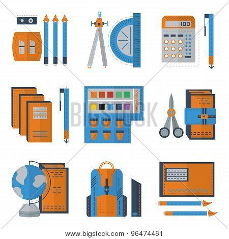Stationery flat color vector icons
