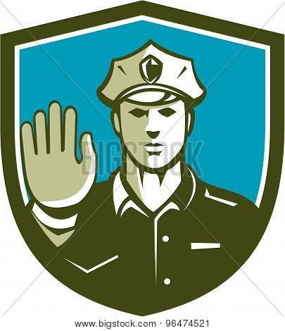 Traffic Policeman Hand Stop Sign Shield Retro
