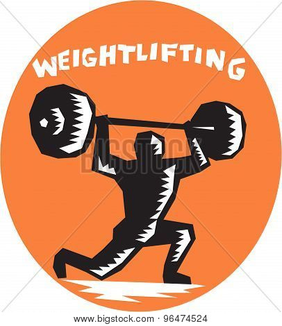 Weightlifter Lifting Weights Oval Woodcut