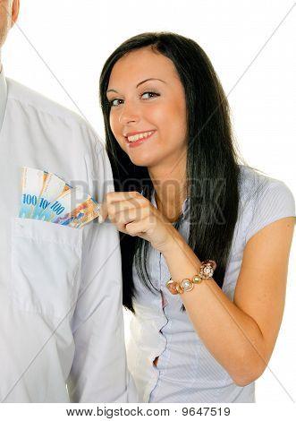 Woman Pulls A Man Swiss Francs From His Pocket