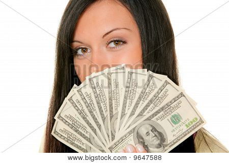 Woman With Dollar Bill
