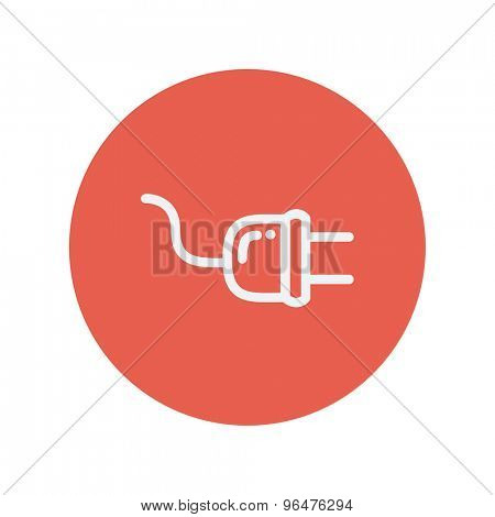 Plug thin line icon for web and mobile minimalistic flat design. Vector white icon inside the red circle.