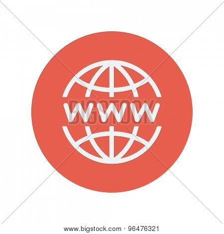 Globe with website design thin line icon for web and mobile minimalistic flat design. Vector white icon inside the red circle.