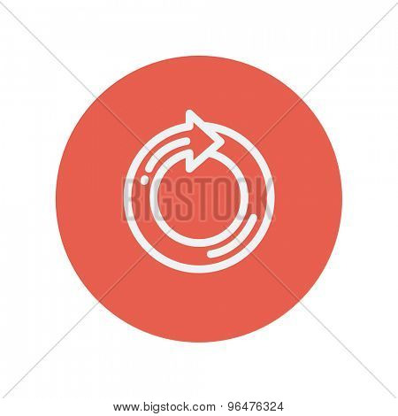 Circular arrow thin line icon for web and mobile minimalistic flat design. Vector white icon inside the red circle.