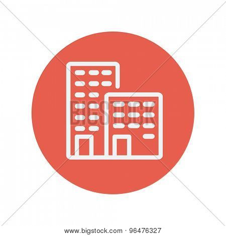 Office buildings thin line icon for web and mobile minimalistic flat design. Vector white icon inside the red circle.