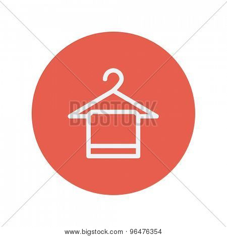 Towel on hanger thin line icon for web and mobile minimalistic flat design. Vector white icon inside the red circle