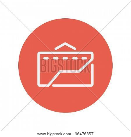 Envelope with handle thin line icon for web and mobile minimalistic flat design. Vector white icon inside the red circle.