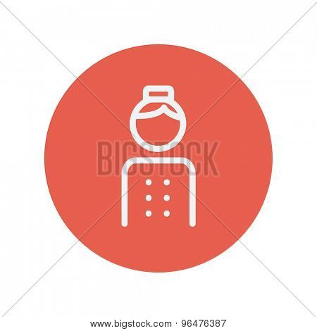Bellboy thin line icon for web and mobile minimalistic flat design. Vector white icon inside the red circle