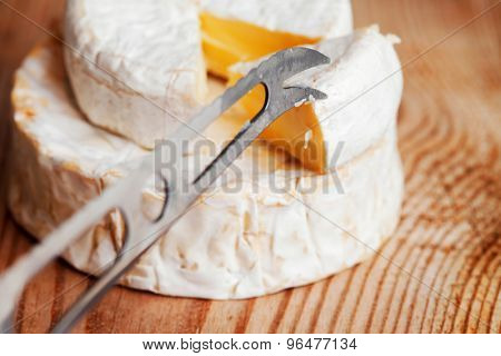 a piece of Brie cheese