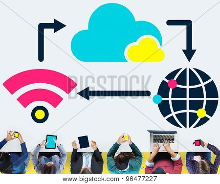 Technology Connection Networking Cloud Computing Sharing Concept