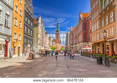 GDANSK, POLAND - MAY 11, 2015: The Long Lane street in old town of Gdansk, Poland. Baroque architecture of the Long Lane is one of the most notable tourist attractions of the city.