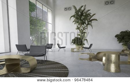 Modern designer living room with houseplants with scattered individual seating areas and a dining table lit by large view windows in a double volume space. 3d Rendering.