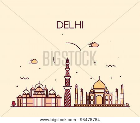 Delhi City skyline Trendy illustration line art