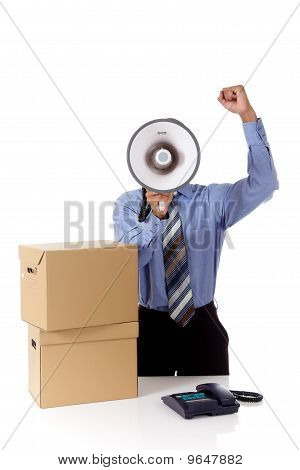 Megaphone Face, Young African American Businessman