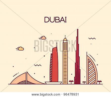Dubai City skyline Trendy vector line art