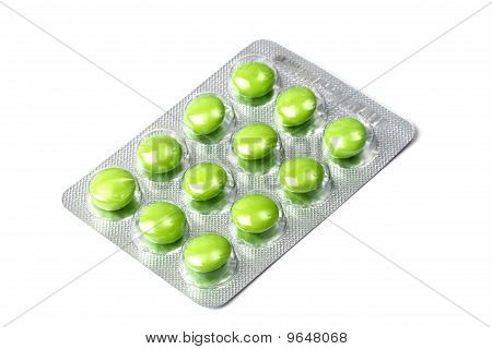 Package Of Green Pills Isolated On White