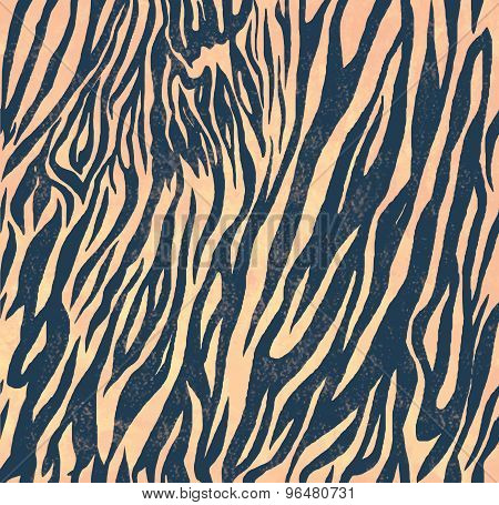 Seamless vintage style pattern with zebra print. Hand drawn vector.