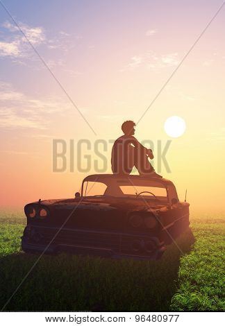 Silhouette of a man on the roof of the old car.