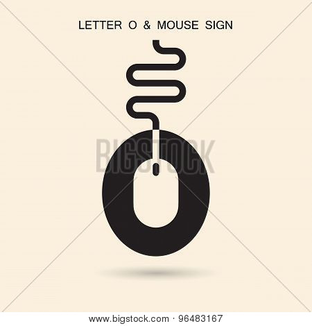 Creative Letter O Icon Abstract Logo Design Vector Template With Computer Mouse Symbol. Corporate Bu