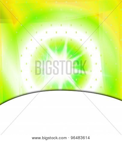Shiny burst green background with place for text