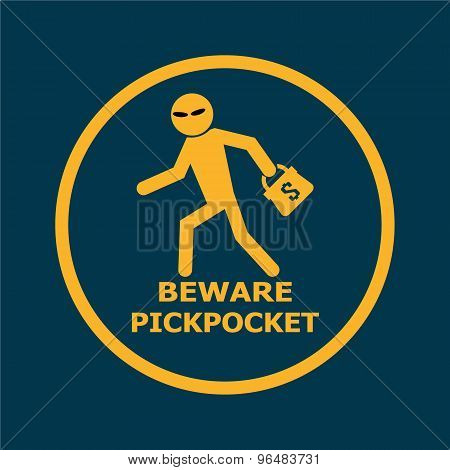 Beware Pickpocket Sign